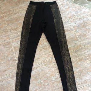 Black Leggings With Gold Detail Down Side Of Leg